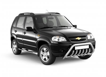 Защита порогов с накладками d76мм Chevrolet Niva FL (нерж)